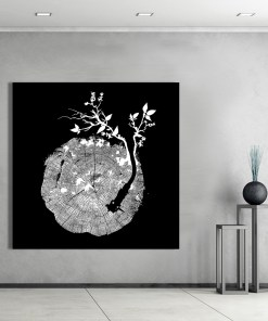 Intriguing Growing Tree Stump Black And White Frameless Poster