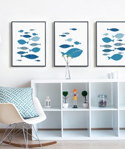 Flawless Blue Fish Minimalist Frameless Poster