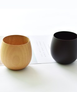 Innovative Pot-Bellied Japanese-Style Wooden Drinking Cups