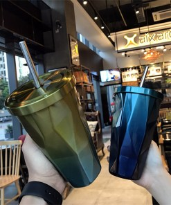 Usable Stainless Steel Ombre Cup With Lid And Metal Straw