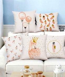 Pragmatic Pink Flamingo And Shapes Watercolour Pillow Covers
