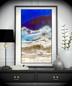 Entrancing Blue Abstract Grainy Landscape Frameless Art Poster