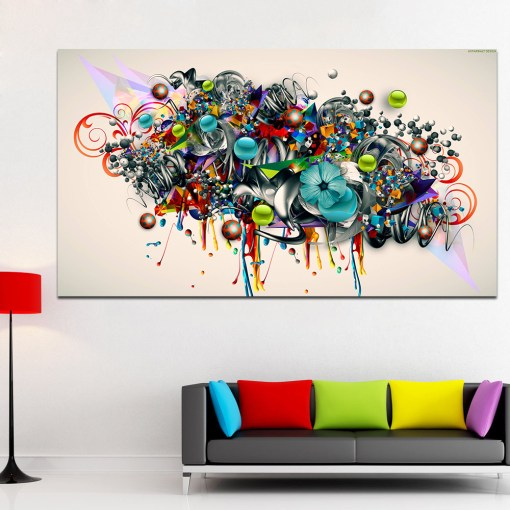 Benevolent Graffiti Colourful Abstract Garland Frameless Poster
