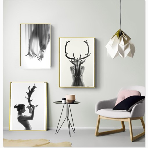 Indomitable Naked Woman With Deer Antlers Monochromatic Frameless Poster