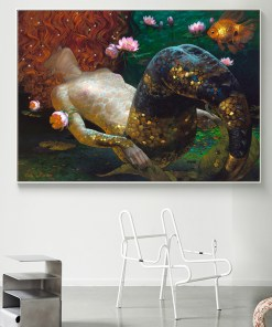 Revitalizing Floating Naked Mermaid With Red Hair Frameless Poster