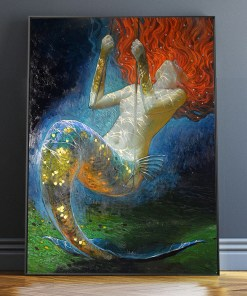Nonchalant Mermaids With Red Hair Frameless Poster