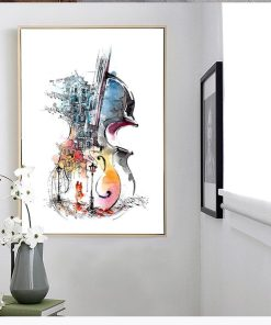 Lovely Abstract Guitar Frameless Wall Poster