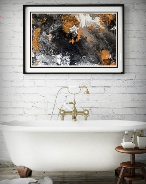Spectacular Black, White, And Orange Abstract Frameless Wall Poster