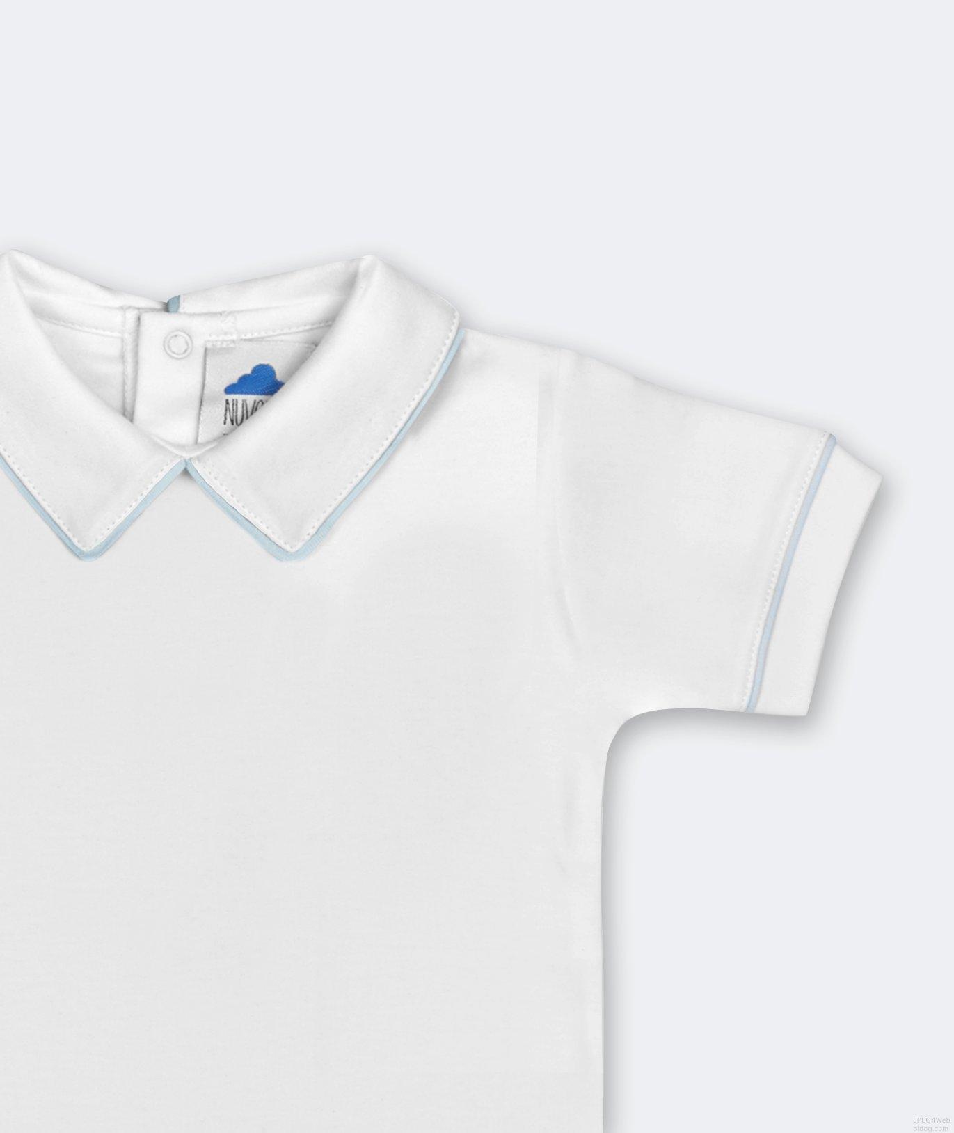 Chic Body Short Sleeves White Blue
