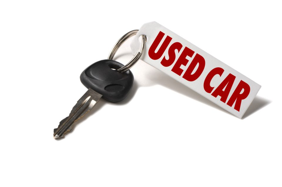 Used Car Key Tag for Pre-owned vehicle on White background