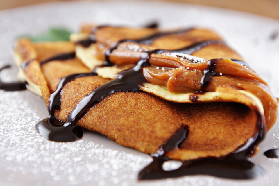 French crepes with caramel fudge