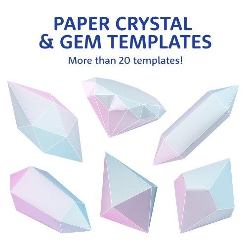 Printable Paper Diamond, Gem & Crystal Templates