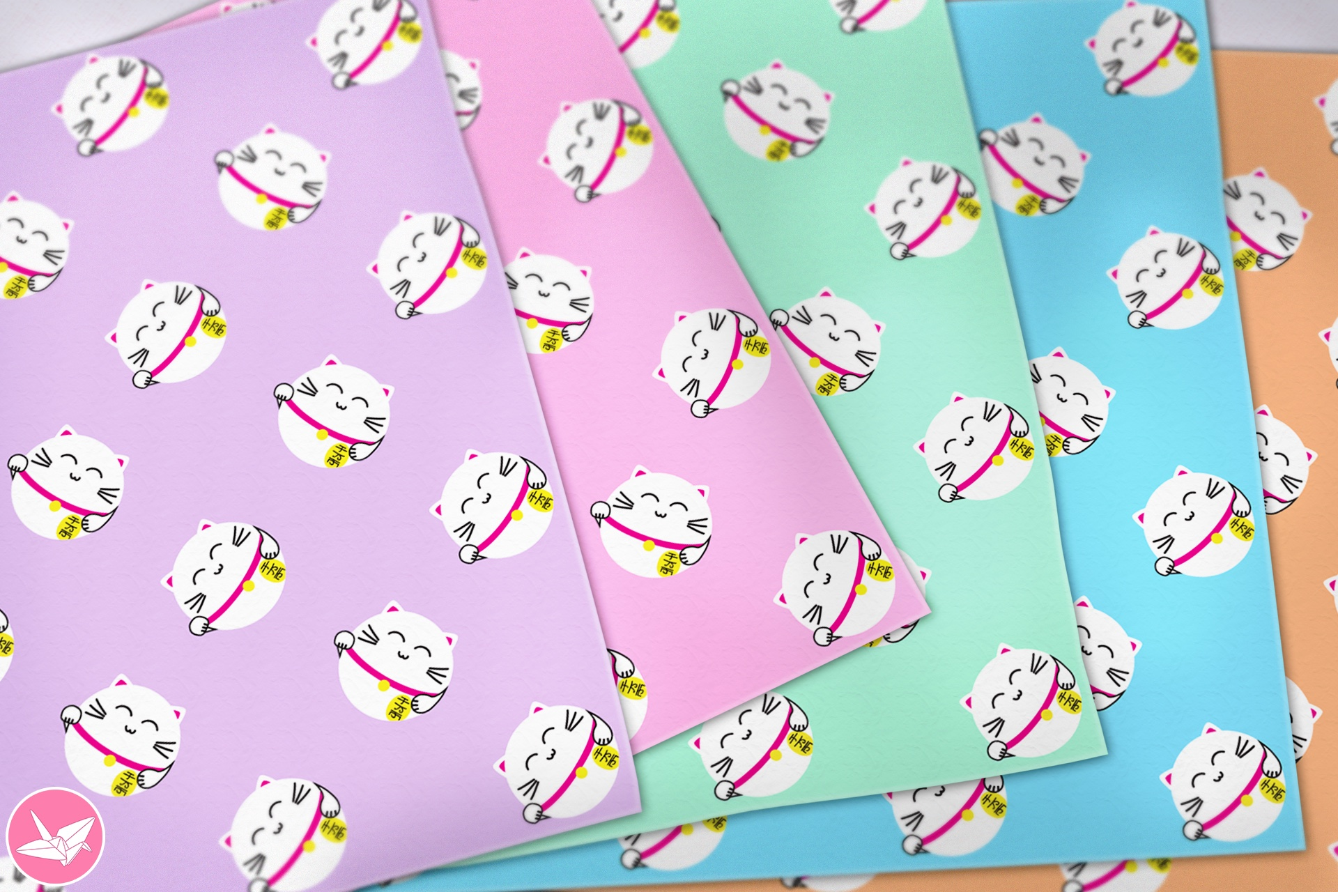 Japanese Lucky Cats Printable Origami Paper