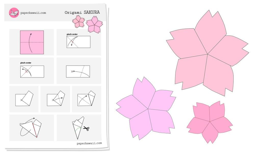 Origami Cherry Blossom Diagram Paper Kawaii
