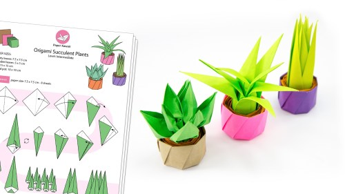 Origami Succulent Pot Plants Diagram