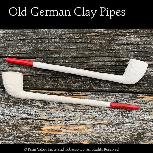 Old German Clay Pipe #41 with red tip at Pipeshoppe.com