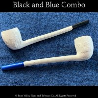 Old German Clay Pipes Black and Blue Combo