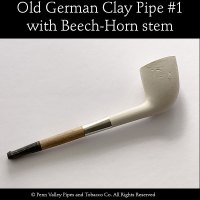 Old German clay pipe #1 with beech-horn stem at Pipeshoppe.com