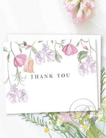 FLORAL BOTANICAL THANK YOU CARD GREETING CARD LAYOUT
