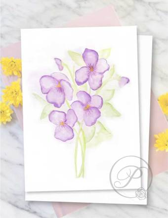FLORAL VIOLA GREETING CARD LAYOUT