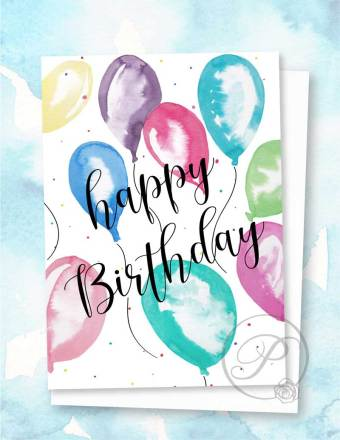 HAPPY BIRTHDAY BALLOONS GREETING CARD LAYOUT