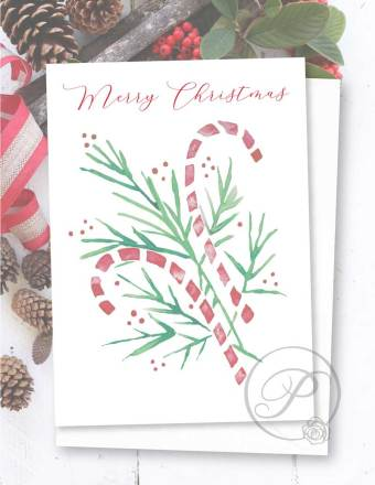HOLIDAY CANDY CANE CHRISTMAS GREETING CARD LAYOUT