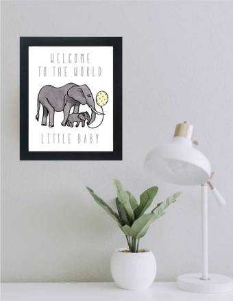 WATERCOLOR WELCOME TO WORLD BABY WALL ART