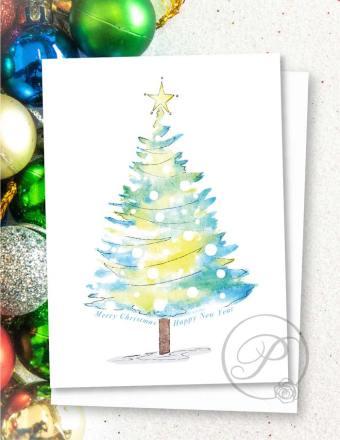 Beautiful Christmas tree greeting card