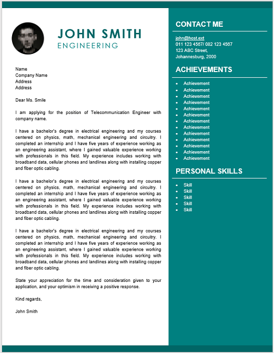 Engineering Cover Letter - Professional CV Zone | Templates