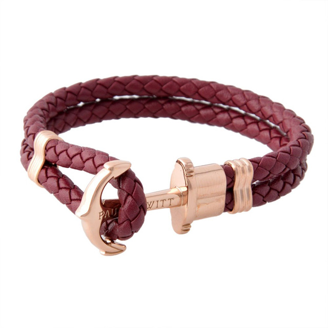 Salada Bowl Bracelet Unisex Dark Berry Rose Gold Leather