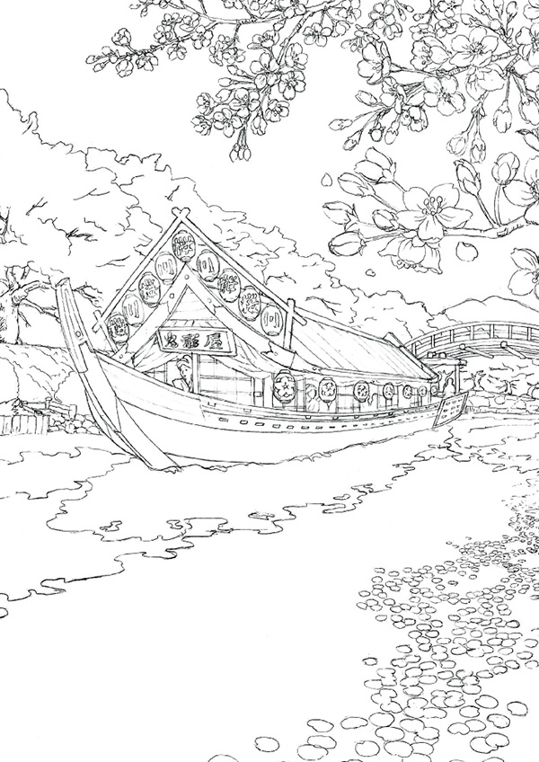 塗り絵セレクション japan 日本 290000001 b5(182×257×5mm)サイズ おまけ8ページ・本文24ページ 左開き シ