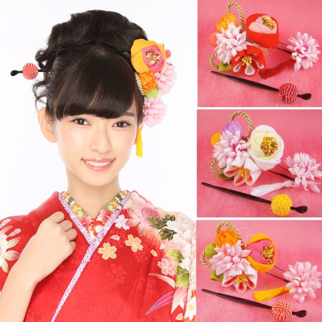 i pick it up to a hair ornament yukata coming-of-age ceremony wedding ceremony crepe camellia in japanese dress and take in front of flower hakama