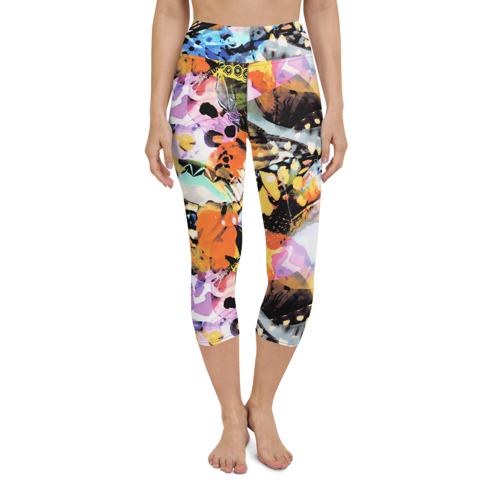 Dames Capri Yoga Legging butterflies print