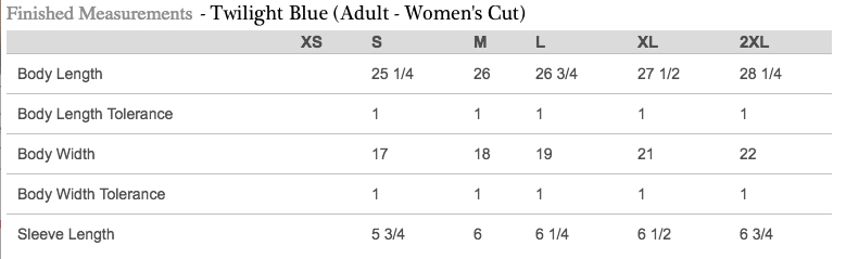 Sizing Chart for Adult Women's Cut