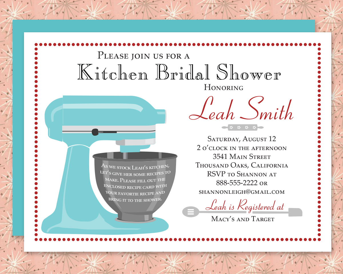 Red and Aqua Kitchen Shower Theme Complete Bridal Shower Collection ...
