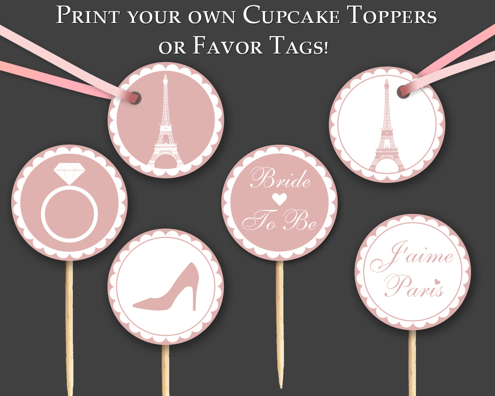 graphic regarding Printable Cupcakes Toppers titled Purple French Paris Printable Cupcake Toppers