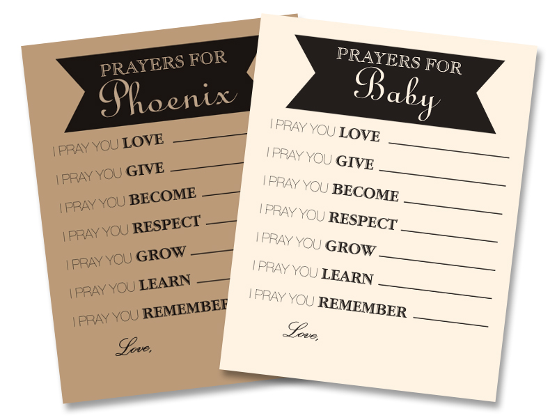 picture about Printable Prayer Cards identify Tailor made Rustic Youngster Shower Prayer Playing cards Printable