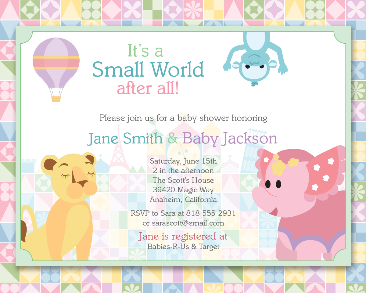 Custom It\'s a Small World Invitation – Shameron Studios