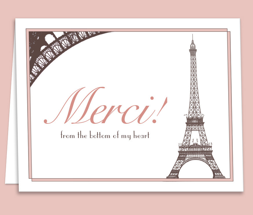graphic about Thank You Card Printable known as Crimson French Paris Thank On your own Card Printable