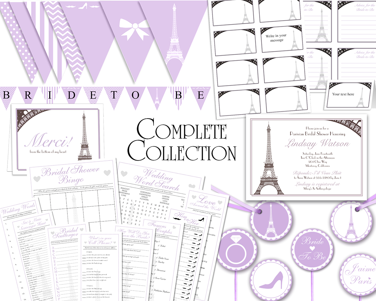 graphic regarding Printable Bridal Shower Invitations referred to as Lavender French Paris Detailed Variety Printable Bridal Shower Invitation, Thank By yourself Card, Game titles, Labels, Cupcake Toppers Bunting Banners
