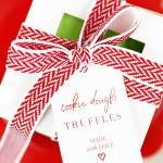 cookie dough truffles gift tags on box