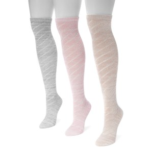 Women's 3 Pair Pack Pointelle Marl Knee High Socks
