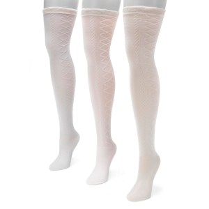 Women's 3 Pair Pack Lace Texture Over the Knee Socks