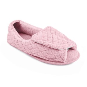 Women's Micro Chenille Adjustable Open Toe Full Foot Slipper