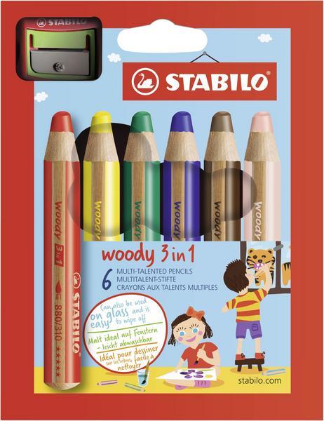 STABILO woody 6er Etui mit Spitzer   Stabilo