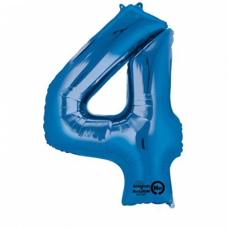 SuperShape Zahl 4 Blau Folienballon L34 verpackt 66cm x 88cm | Amscan