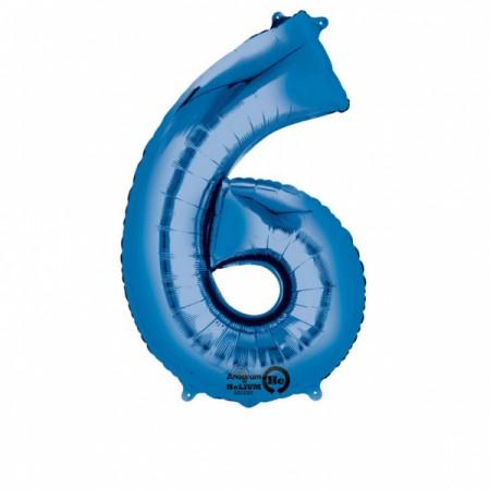 SuperShape Zahl 6 Blau Folienballon L34 verpackt 55cm x 88cm | Amscan