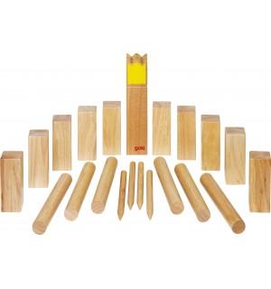Wikingerspiel Kubb, Krone gelb, im Baumwollbeutel | Gollnest