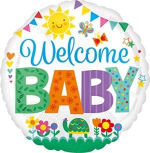 Standard Welcome Baby - Wimpelkette Folienballon Rund, S40, verpackt, 43cm | Amscan