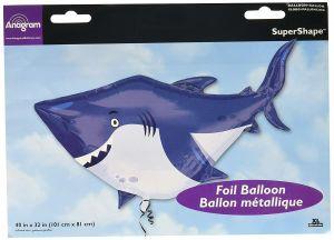 SuperShape Ocean Buddies Hai Folienballon, P35, verpackt, 101x81 cm | Amscan